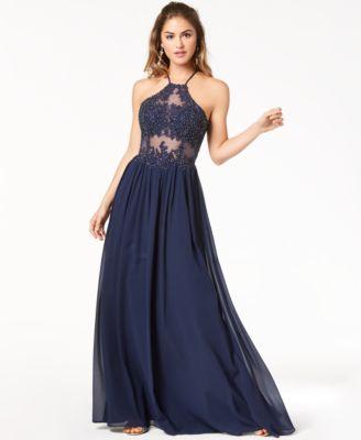 Blue Halter Prom Dress