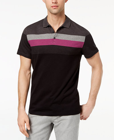 Alfani Men's Striped Honeycomb-Jacquard Polo, Created for Macy's