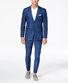Tallia Orange Men's Slim-Fit Navy Bandana-Print Suit Separates