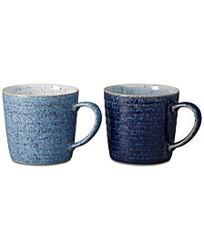 Denby Studio Blue 2-Pc. Ridged Mug Set