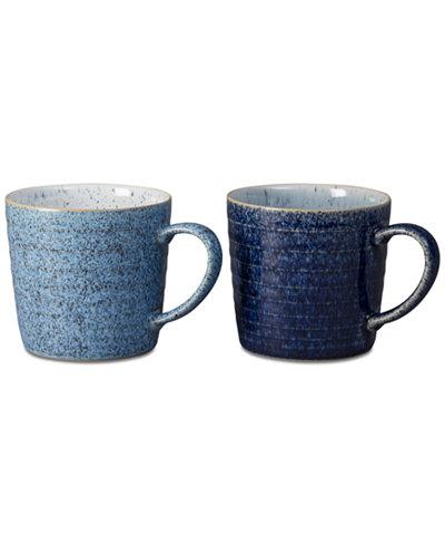 Denby Studio Craft Blue 2-Pc. Ridged Mug Set