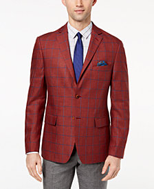 Tallia Orange Men's Big & Tall Modern-Fit Burgundy Windowpane Sport Coat
