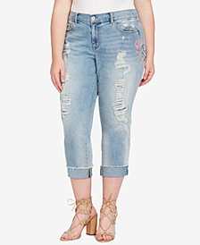 Jessica Simpson Trendy Plus Size Embroidered Boyfriend jeans