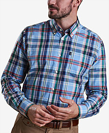 Barbour Men's Jeff Light Blue Plaid Oxford Shirt