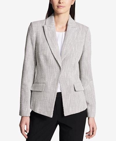 Calvin Klein One-Button Tweed Blazer