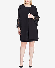 Tahari ASL Plus Size Lace-Trim Dress Suit