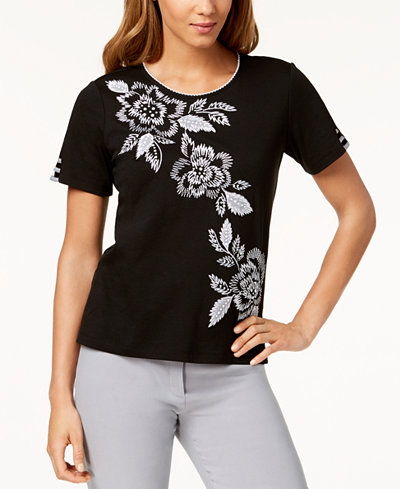 Alfred Dunner Petite Play Date Embroidered Lattice-Sleeve Top