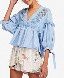 Free People Drive You Mad Crochet-Trim Peasant Blouse