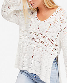 Free People Flower Child Cotton Mixed-Knit Tunic Sweater