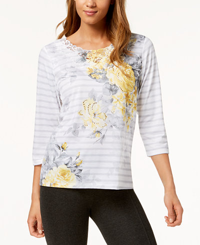 Alfred Dunner Petite Charleston Floral-Stripe Lace-Trim Top