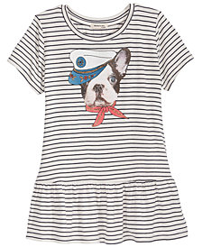 Monteau Dog Graphic Striped Peplum Top, Big Girls