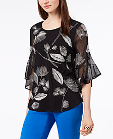 Alfani Embroidered Flutter Sleeve Top, Created For Macy's