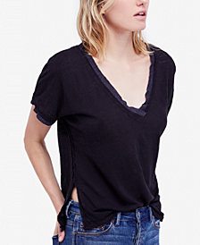 Free People Take Me Raw-Edge Contrast T-Shirt
