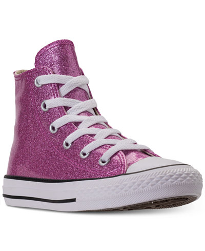 Converse Little Girls' Chuck Taylor High Top Glitter Casual Sneakers from Finish Line