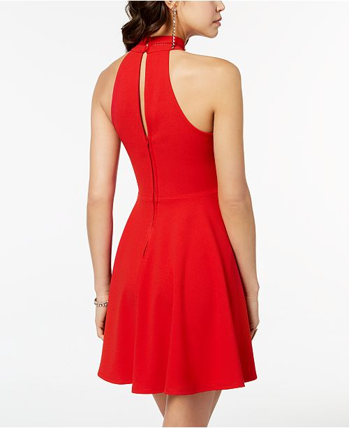 91e537ac4a3f B Darlin Juniors' Mock-Neck Crochet-Trimmed Fit & Flare Dress ...