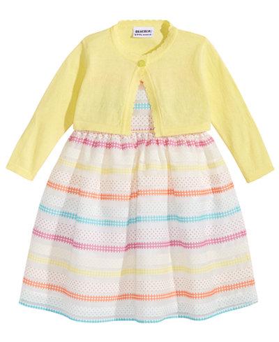 Blueberi Boulevard 2-Pc. Cardigan & Striped Dress Set, Little Girls