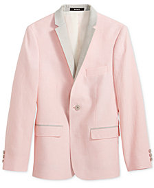 DKNY Pink & Gray Linen Sport Coat, Big Boys