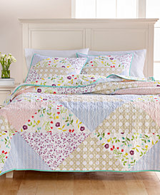 Martha Stewart Collection Pergola Patch 100% Cotton Quilt and Sham Collection, Created for Macy's