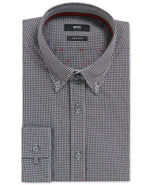 Boss Men's Regular/Classic-Fit Patterned Cotton Sport Shirt
