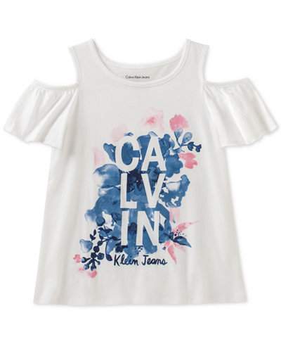 Calvin Klein Graphic-Print Cold-Shoulder Cotton T-Shirt, Big Girls