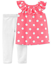 Carter's 2-Pc. Dot-Print Top & Leggings Set, Little Girls & Big Girls