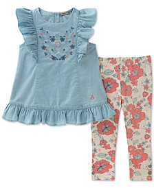 Calvin Klein 2-Pc. Denim Tunic & Floral-Print Leggings Set, Little Girls