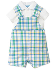 Little Me 2-Pc. Plaid Cotton Overall Set, Baby Boys