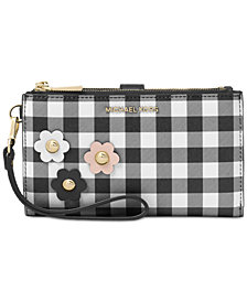 MICHAEL Michael Kors Gingham Double-Zip Wristlet, Created for Macy's