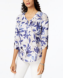 JM Collection Printed Linen Top, Created for Macy's