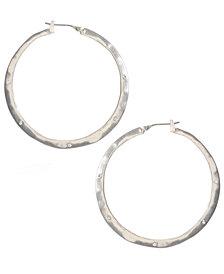 Kenneth Cole New York Earrings, Silver-Tone Crystal Hoop