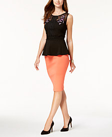 Thalia Sodi Lace-Trim Peplum-Hem Top & Pencil Skirt, Created for Macy's