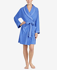 Eileen West Terry-Cloth Short Wrap Knit Robe