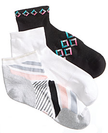 Hue Women's 3-Pk. Air Sleek Quarter-Top Cushioned Socks