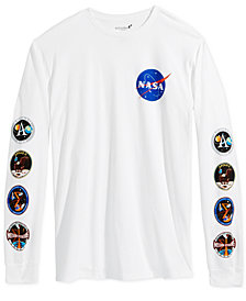 Bioworld Men's Long Sleeve Graphic NASA T-Shirt