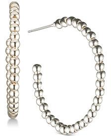 Lauren Ralph Lauren Silver-Tone Bead Hoop Earrings