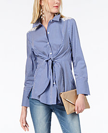 I.N.C. Tie-Front Lace-Inset Shirt, Created for Macy's