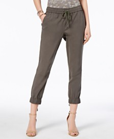 I.N.C. Lace-Up Cropped Jogger Pants, Created for Macy's