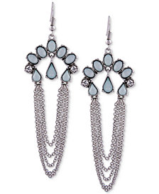 GUESS Silver-Tone Multi-Stone & Chain Drop Earrings