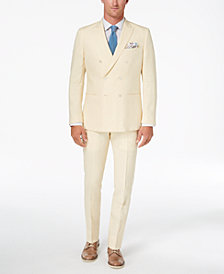 CLOSEOUT! Tallia Orange Men's Modern-Fit Light Yellow Délavé Double-Breasted Suit
