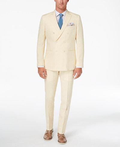 Tallia Orange Men's Modern-Fit Light Yellow Délavé Double-Breasted Suit