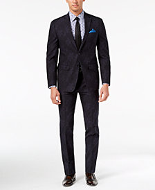 Tallia Orange Men's Modern-Fit Black/Navy Floral-Print Suit