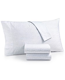 CLOSEOUT! Martha Stewart Collection Organic 4-Pc. Printed Queen Sheet Set, 300 Thread Count GOTS Certified, Created for Macy's