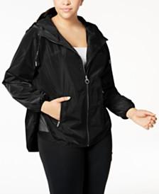 Calvin Klein Performance Plus Size Spectator Crossover-Back Hooded Rain Jacket