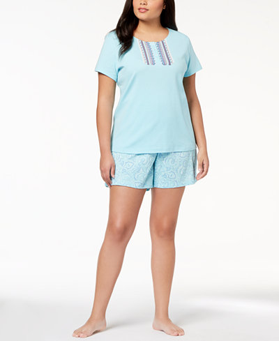 Charter Club Plus Size Cotton Flower-Placket Pajama Set, Created for Macy's