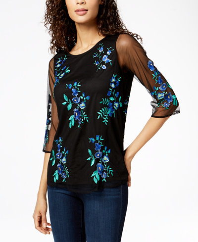 Charter Club Embroidered 3/4-Sleeve Top, Created for Macy's