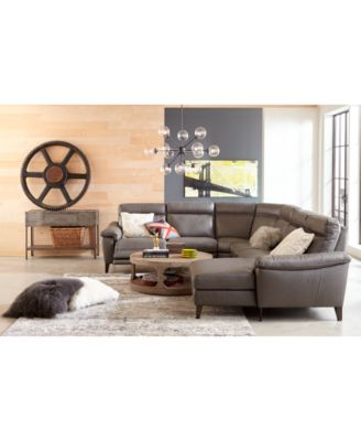 Furniture Pirello II 6-Pc. Leather Sectional Sofa With Chaise, 2 ...