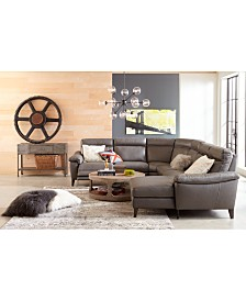 Pirello II Leather Power Reclining Sectional Sofa Collection with Power Headrest and USB Port, Created For Macy's