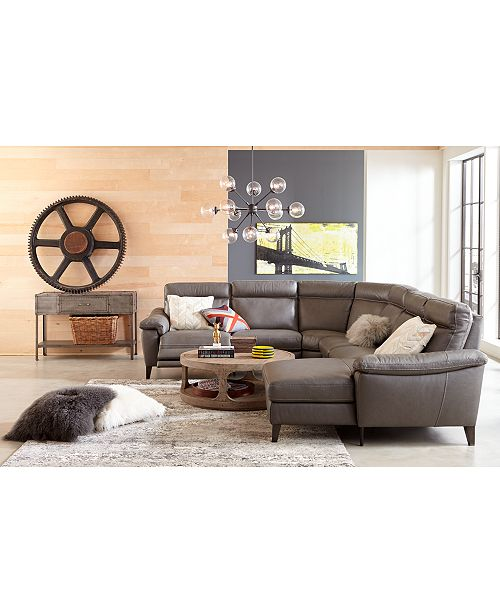Furniture Pirello II Leather Power Reclining Sectional Sofa Collection with Power Headrest and USB Port, Created For Macy's