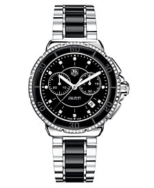 TAG Heuer Women's Chronograph Diamond (1/2 ct. t.w.) Black Ceramic and Stainless Steel Bracelet Watch 41mm