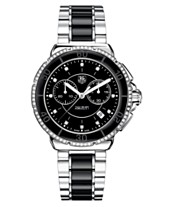 TAG Heuer Women s Chronograph Diamond (1 2 ct. t.w.) Black Ceramic and 44f77c713ee8